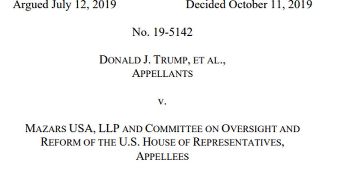 Appeals court panel upholds House subpoena for Trump tax records