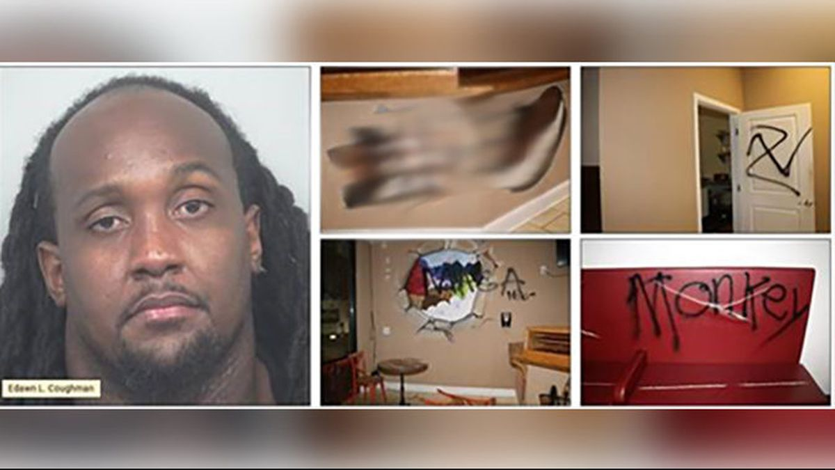 Ex-NFL player accused of drawing slurs on walls to fake hate crime at his business